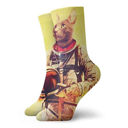 NGMADOIAN Lustige verrückte Crew Socke Brave Cat Astronaut Gedruckte Sport Athletic Socken 30cm lange personalisierte Geschenksocken