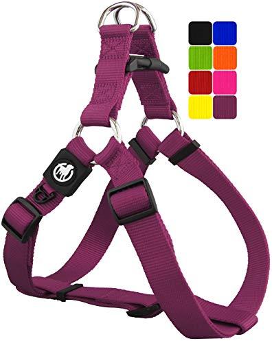 DDOXX Arnés Perro Step-In Nylon, Ajustable | Muchos Colores & Tamaños | para Perros Pequeño, Mediano y Grande | Accesorios Gato Cachorro | Violeta, L