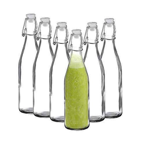 Amisglass Bottiglie di Vetro, Set 6 Pezzi Rocco Bottiglia Vetro Emilia, Bottiglia Giara con Chiusura Ermetica per Olio, Grappa, Acqua, Succhi Frutta e Vino - 0.6 L