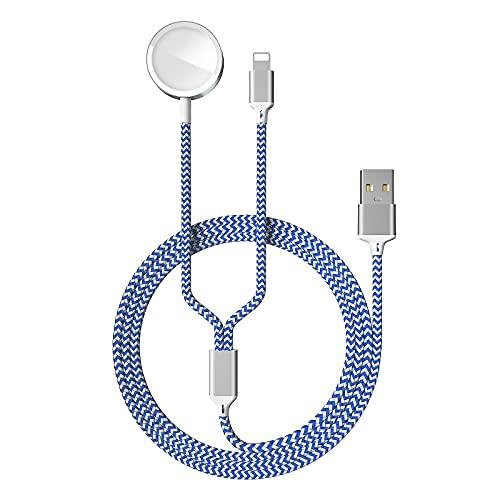 2 en 1 Cargador Magnética para Watch 6/SE/5/4/3/2/1, Cable de Carga USB Charger Compatible con Watch 38/40/42/44mm y Phone 11 MAX Pro/XR/XS/8