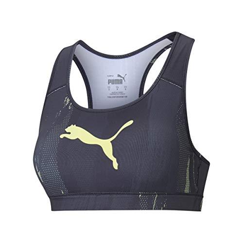 PUMHB|#Puma Individualcup Sports Bra, Reggiseno Sportivo Donna, Puma Black-Asphalt-Soft Fluo Yellow, XS