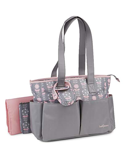 Baby Boom 4 Piece Baby Diaper Bag Set for Women - Large Tote Style Diaper Bag - Wipeable, Roomy, Zip Closure - Light Grey and Pink Flowers