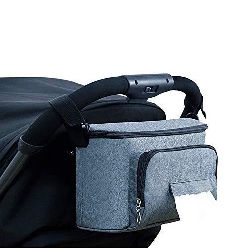 Bolsa para cochecito bolsa para cochecito Stroller Organizador para cartera pa/ñales bebidas juguetes y alimentos negro Rosa