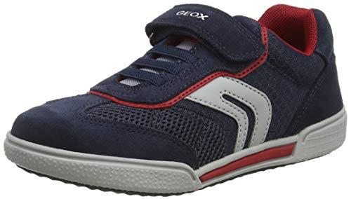 Geox J POSEIDO Boy D, Sneakers Basses, Bleu (Navy/Red C0735), 25 EU