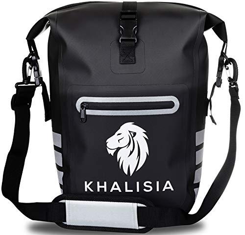 KHALISIA® 3in1 Fahrradtasche für Gepäckträger l Rucksack wasserdicht & reflektierend | nachhaltig & geruchsneutral | Gepäckträgertasche fürs Fahrrad | schwarz, blau, rot