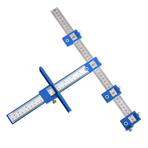 CONMCNK Cabinet Hardware Jig, Cabinet Hardware Template Tool-Adjustable Drill Guide for Fast and Accurate Installation of Door and Drawer Front Knobs, Pulls and Handles,Blue