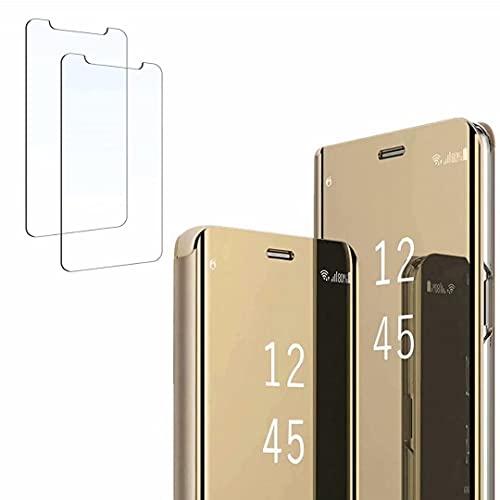 Ttianfa Funda para Samsung Note 5 Edge Funda Espejo Flip Tipo Libro,Hora Ver Inteligente Fecha Soporte Plegabl Protector Pantalla PU Caso Duro 360 a Prueba de choques Funda conNote 5 Edge,Oro