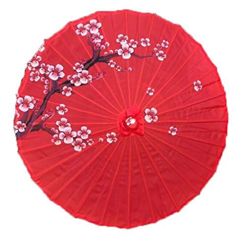 Yukie - Ombrello da pioggia da donna cinese fengshui, in seta giapponese, poney decorativo, in bambù, colore: rosso prugna