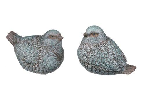Set of 2 Assorted Sullivans 4' Resin Bird Figurines with Patina Look