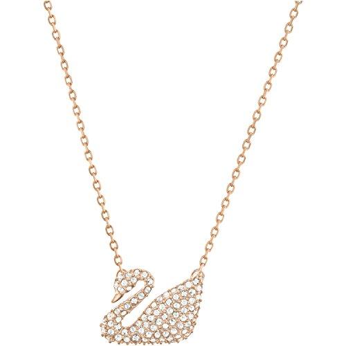 Swarovski Collar Swan, blanco, Baño en tono Oro Rosa
