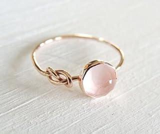 مجوهرات الأوبال من Zhiwen أزياء جميلة المرأة الوردي حجر القمر 18 قيراط خاتم مملوء بالذهب الوردي مجوهرات الزفاف الحجم 6-10