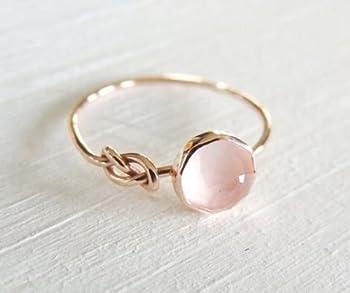 Zhiwen Opal Jewelry Beautiful Fashion Women Pink Moonstone 18K Rose Gold Filled Ring Wedding Jewelry Size6-10  US Code 10