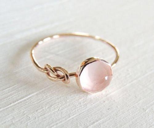 Zhiwen Opal Jewelry Beautiful Fashion Women Pink Moonstone 18K Rose Gold Filled Ring Wedding Jewelry Size6-10 (US Code 8)