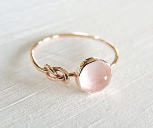 Pink Moonstone 18k Rose Gold Filled Ring Wedding Jewelry by Zhiwen
