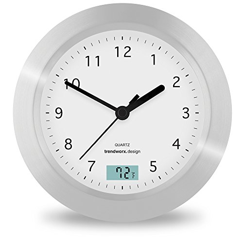 Stainless Splash Proof Aluminium Small Wall Clocks For Bathroom With Temperature