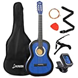 LAGRIMA 38 inch 4/4 Size Beginner Acoustic Guitar Set Starter Kit with Gig Bag, Capo, Strap, Digital Tuner, Picks & Steel Strings for Kids/Beginners/Adults (Blue)