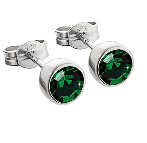 NKlaus par de pendientes de plata de ley 925 5,50mm verde oscuro zirconia damas hombres 6669