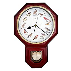 JUSTIME Unique 12 North American Bird's Song Schoolhouse Pendulum Wall Clock Chimes Every Hour Melody Made in Taiwan (TCBD-PP-OWL-R Red Mahogany)