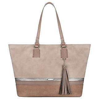 scheda david jones - borsa a spalla tote shopper grande capacità donna - capiente borse a mano tracolla manico lungo - larga borsa lavoro pu pelle morbida - casual borsetta shopping scuola moda - rosa