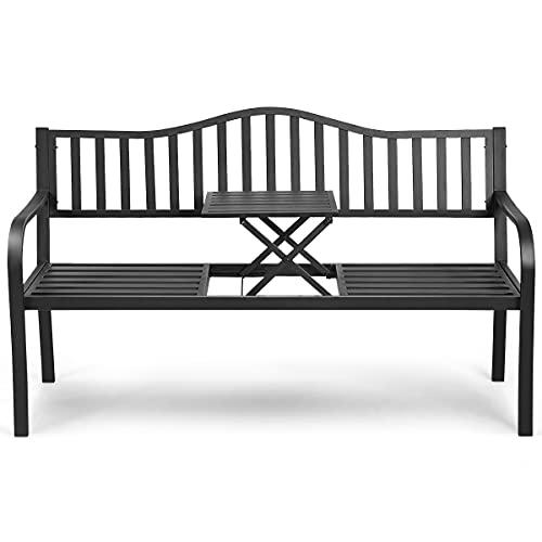 GYMAX Sitzbank mit ausziehbarem Mitteltisch, Gartenbank mit Armlehnen & Rückenlehne, Ruhebank aus Eisen, für 2-3 Sitzer, belastbar & wetterfest, 150 x 59 x 91 cm, für Garten, Balkon, Terrasse