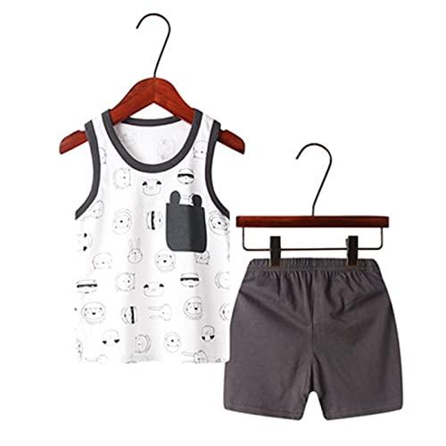 Susanlife LOKKSI - Conjunto de pijama para niños, pijamas de verano para niños y niñas, sin mangas, camiseta para niños de 2 a 7 años