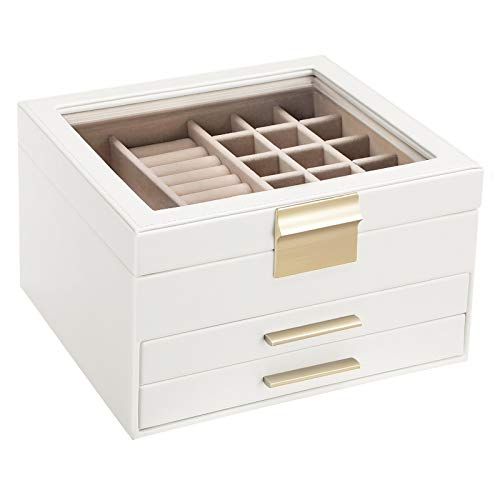 SONGMICS Jewelry Box with Glass Lid, 3-Layer Jewelry Organizer with 2 Drawers, Gift for Loved Ones, White UJBC239WT
