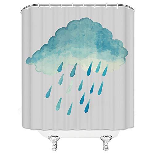 N/O NELTEG Duschvorhang Cloud wasserdichter Duschvorhang Regen Polyester Stoff Badvorhang 12 Haken Gardinen Bad