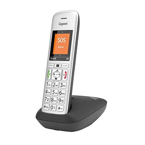 Gigaset E390, Schnurloses Seniorentelefon, großes Farbdisplay, SOS-Notruffunktion mit 4 Rufnummern, 2 Akustik-Profile, große beleuchtete Tasten, Silber/Schwarz