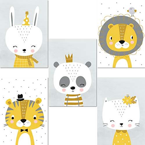 LALELU-Prints | A4 Bilder Kinderzimmer Deko Junge Mädchen | Zauberhafte Tiere nordic senf-gelb | Poster Babyzimmer | 5er Set Kinderbilder (DIN A4 ohne Rahmen)
