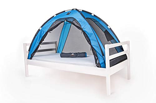 DERYAN Bedtent - 200x90cm - Blue -  1mm Mosquito Net - Protects your sleeping child against mosquitoes and insects - Including carrying bag