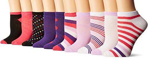 Chatties Women's Petite Printed Low Cut Socks 10 Pack-13, Stripes/Dots Purple, 9-11