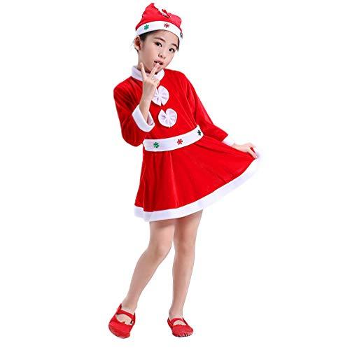 Fenical - Disfraz de Papá Noel para niña, suave, para Navidad, cosplay, fiesta, para niños y niñas rojo talla...