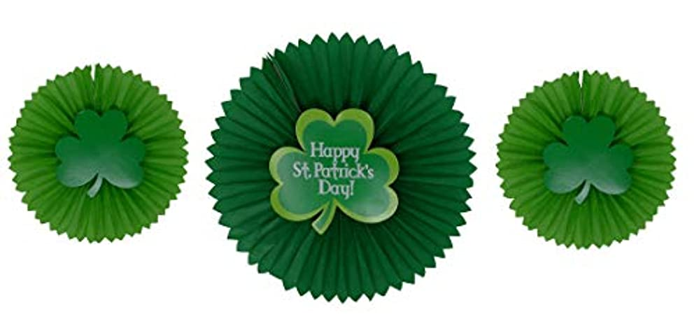 Shamrock Tissue Fans with Attachments (Pack of 3) Saint Patrick's Day Party Decorations, Party Favors