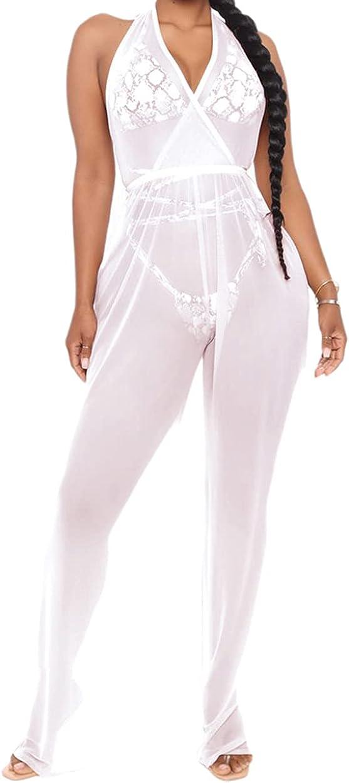 bluewolfsea Women Sexy Halter Wrap V Neck Sheer Mesh Bodycon Wide Leg Pants Jumpsuit Romper Party Clubwear