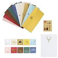 レターセット 封筒10枚+便箋20枚+シール13枚 厚手 祝日 メッセージカード 箔押しデザイン かわいい 手紙セット 母の日 感謝祭 グリーティングカード バースデーカードを大切な人へ