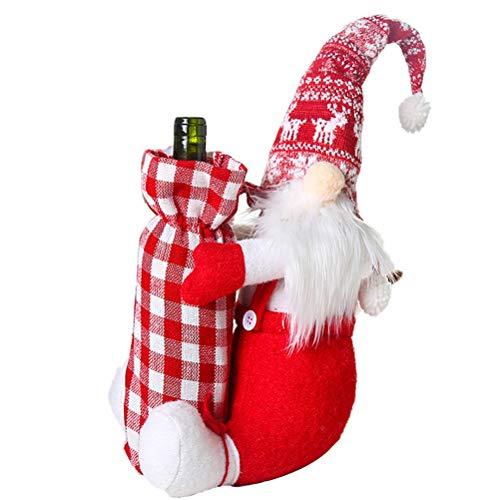 Bolsa de regalo de botella de vino de Navidad de la cubierta de las bolsas de la muñeca sin cara de champán, botella de vino cubierta de polvo para la decoración de fiesta