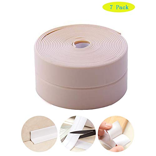 7 Pack Bathtub Caulk Strip PE Waterproof Self Adhesive Sealant Tape Waterproof and Mildew Proof for Bathroom, Kitchen, Tub and Wall Corner Edge7 Packs of Pink-3.2m 38mm