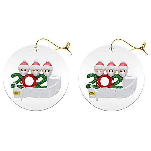 TYSJL Palline di Natale Personalizzate, Decorazioni Natalizie Sopravvissute in Famiglia con Ribbon Loop per I Tag degli Ornamenti Appesi All'albero di Natale (Color : C, Size : 2)