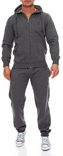 Hoppe Herren Trainingsanzug Sportanzug Sweatshirt-Jacke Trainingshose (2XL, grau)