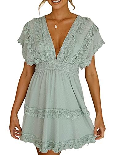 FOBEXISS Vestido de verano para mujer, con borla, color sólido, con cordones, con cuello en V, para graduación, para mujer