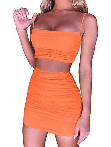 BEAGIMEG Women's Ruched Cami Crop Top Bodycon Skirt 2 Piece Outfits Dress Orange