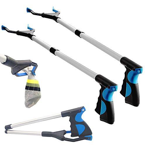BRMDT Grabber Reacher Tool (2 Pcs) , Reacher Grabber Pickup Tool, 32' Foldable Trash Picker Grabbers Lightweight Long Duty Mobility Aid, Claw Grabber Tool for Elderly