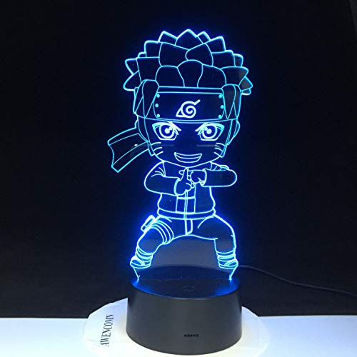 jiushixw 3D acryl nachtlampje met afstandsbediening kleurverandering lamprol kind baby kung fu geschenk rode glazen tafellamp chocolade