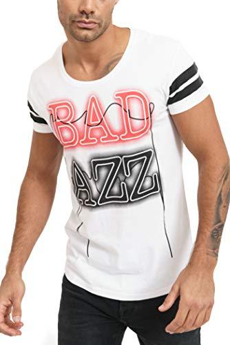 trueprodigy Casual Marca Camiseta para Hombre con impresión Estampada Ropa Retro Vintage Rock Vestir Moda Cuello Redondo Manga Corta Slim fit Designer Fashion t-Shirt, Colores:White, Tamaño:M