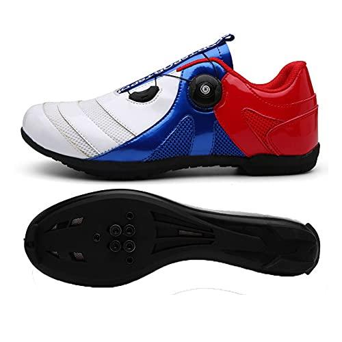 LIXIAOHONGG Zapatillas De Ciclismo para Carretera,Zapatillas De Ciclismo con Doble Hebilla, para Hombre con Tacos SPD Zapatillas De Ciclismo con Sistema De Bloqueo Antideslizante para Bicicleta