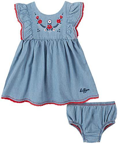 Tommy Hilfiger Baby Girls' 2 Pieces Dress Set, Blue, 6-9 Months 2 Piece Blue Dress