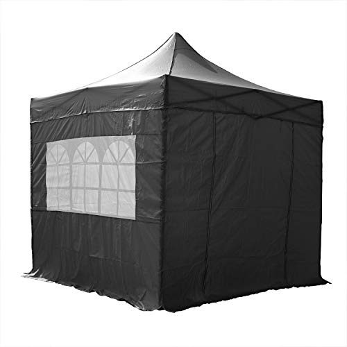 AIRWAVE Gazebo Four Seasons Essential Pop Up with Sides Waterproof 2.5 x 2.5m (Black)