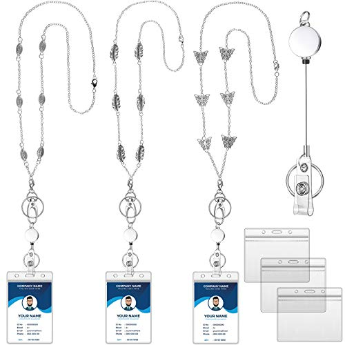 9 Pieces Retractable Badge Reel Lanyard with ID Holder for Women Beaded Lanyard Stainless Steel Necklace with Name Badge Holder Water Resistant PVC Card Holder for ID Card Key