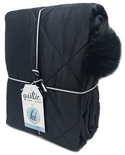 Jay Franco Hi Twin Quiltie Quilt & Duvet Cover Bedspread, Black