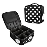 ALAZA Fashion Polka Dot Makeup Cosmetic Case Organizer Portable Storage Bag Travel Makeup Train Case with Adjustable Dividers